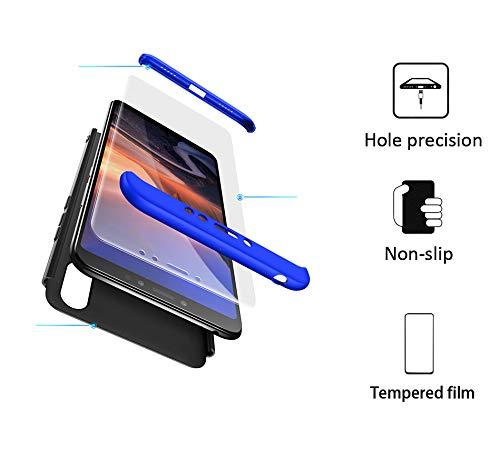 xinyunew Hülle kompatibel mit Xiaomi Mi Max 3+Panzerglas Schutzfolie,Superleichte Superdünne 3 in 1 PC Schutzhülle Etui Stoßfeste Kratzfeste Handyhülle mit 360 Grad R&umschutz Blau
