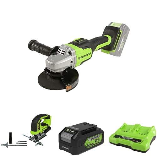 Greenworks Tools Amoladora angular inalámbrico GD24SAG + Sierra de calar sin Cable GD24JS + Batería G24B4 2ª generación + Batería de doble ranura Cargador universal G24X2C