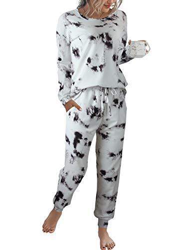 LOGENE Women's Christmas Print Pajamas Set Long Sleeve Sweatshirt and Long Pants Loungewear Sets Sleepwear with Pockets (White & Black, L) 194-heihuangtiaowen-L