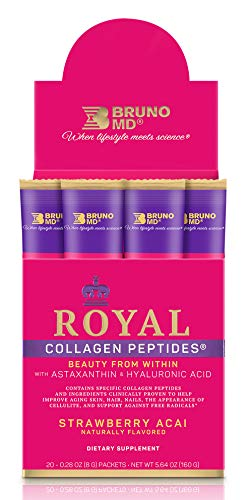 Bruno MD Royal Collagen Peptides - Beauty from Within, Clinically Proven, Dietary Supplement, Improves Skin & The Look of Hair, Nails & Cellulite,Blended with Vitamin C (Strawberry Acai)