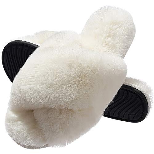 MIYA Dame Flauschig Fellhausschuhe für ganze Jahreszeit Fluffy Plüsch Schlappen Indoor/Outdoor rutschfeste Pantoletten Weiß 37 38 M