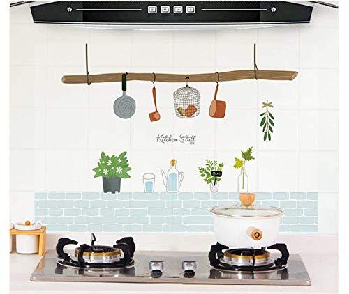 3D Küche Ölsichere Wandaufkleber, Herd Hochtemperatur Wasserdichte Fliesen Schrank Dunstabzugshaube Überholte Tapete 60X90Cm
