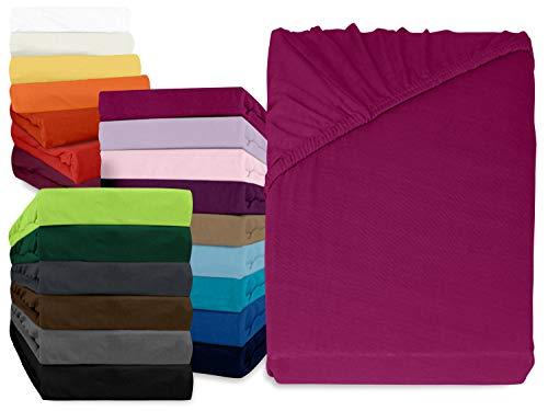 npluseins klassisches Jersey Spannbetttuch - erhältlich in 34 modernen Farben & 6 verschiedenen Größen - 100prozent Baumwolle, 180-200 x 200 cm, pink