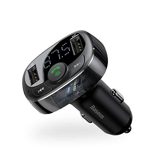 Baseus FM Transmitter Auto Bluetooth, Auto Radio Transmitter QC 3.0 Bluetooth Transmitter Für Auto 2 USB Ladegerät mit U Disk/TF-Karte/AUX-Eingang/EQ Modes
