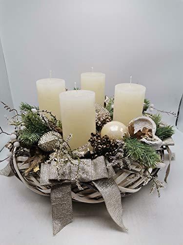 Weihnachtskranz Kranz Adventskranz Weihnachtsgesteck Kerzen Kugeln Zapfen Schleife XL