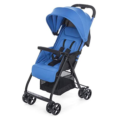LBBHHSJ Cochecitos de bebé, Cochecito Sentado Horizontal Plegable portátil 4 Ruedas Choque Trolley Travel Four Seasons General Newborn Opcional 3 Colores (Color: Azul)