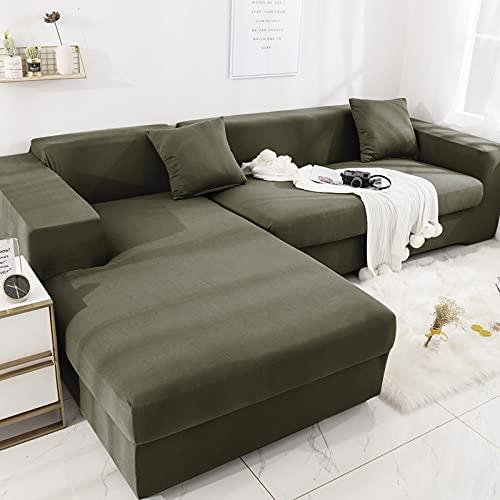 PPOS Fundas de sofá de Esquina de Color sólido elásticas en Forma de L para Sala de Estar Funda de Licra elástica Funda de sofá Toalla de sofá D1 4 Asientos 235-300cm-1pc