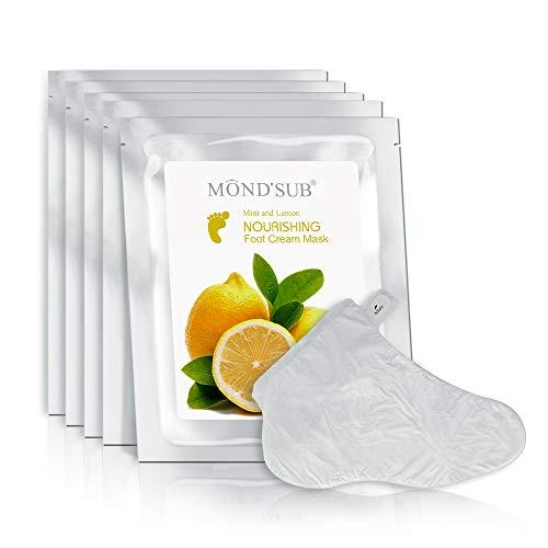 MOND'SUB Lemon and Mint Nourishing Foot Cream Mask Good for Whitening The Skin and Evening Skin Tones Make Feet Feeling Cool and Refresh Spa Mask Moisture Enhancing Socks for Dry Feet