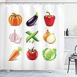 ABAKUHAUS Gemüse Duschvorhang, Bio-Frische Farm, Wasser Blickdicht inkl.12 Ringe Langhaltig Bakterie & Schimmel Resistent, 175 x 240 cm, Weiß Lila