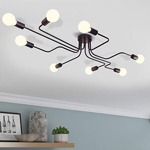 EDISLIVE Vintage Deckenleuchte Industrie Kronleuchter Lampe Pendelleuchte Leuchte für Schlafzimmer Wohnzimmer Cafe Hotel Bar (Schwarz-8 flammig)