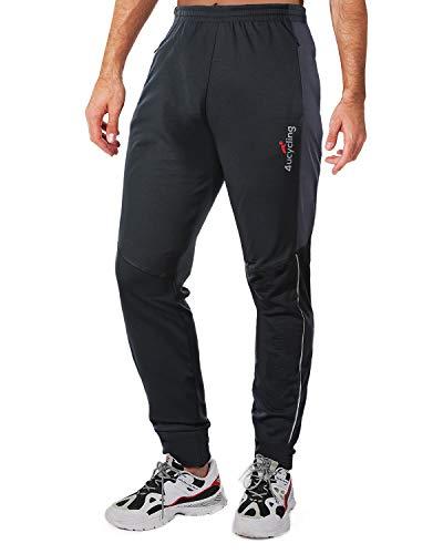 4ucycling - Pantaloni da ciclismo da uomo, in pile, per attività all'aria aperta e multisport, colore: nero e grigio 2, taglia XS