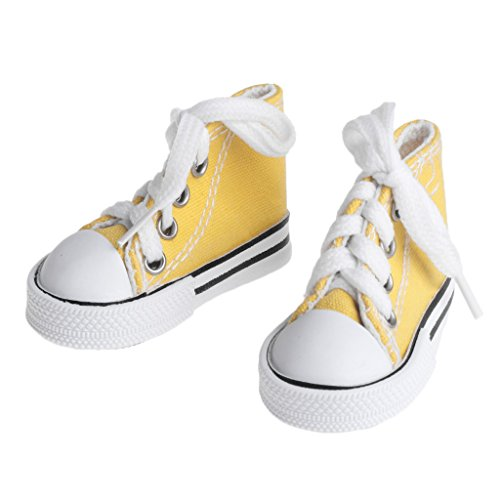 Doll Shoes 1/4 Accessories Canvas Fashion Summer Toys Mini Sneakers Boots Denim, Yellow