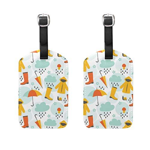 Gepäckanhänger mit niedlichem Duschen aus PU-Leder mit Sichtschutz auf der Rückseite, für Reisetasche/Koffer, 2 Stück