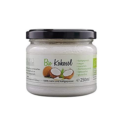 Michel´s Naturprodukte - Natives BIO Kokosöl Kaltgepresset, 250ml, Veganes und Naturreines Kokosnussöl, Rohkostqualität, Kokosfett zum Kochen, Braten und Backen, Cocosöl für Haut und Haare