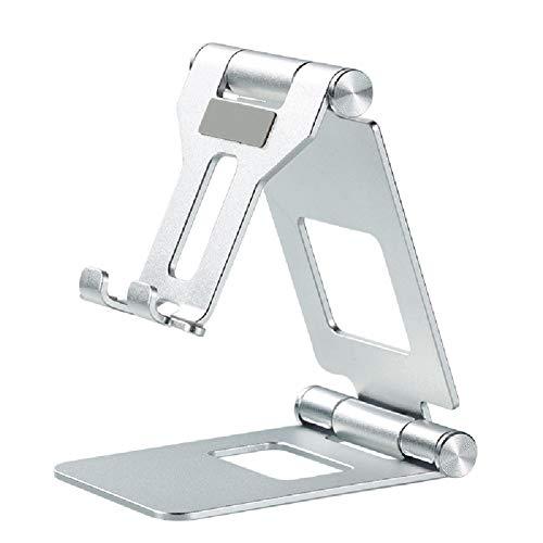 RHGEIUCY Soporte Plano de Placa Plana de Soporte Plana Plegable Doble Plegable Soporte de teléfono móvil aleación de Aluminio Soporte de Escritorio (Color : White)