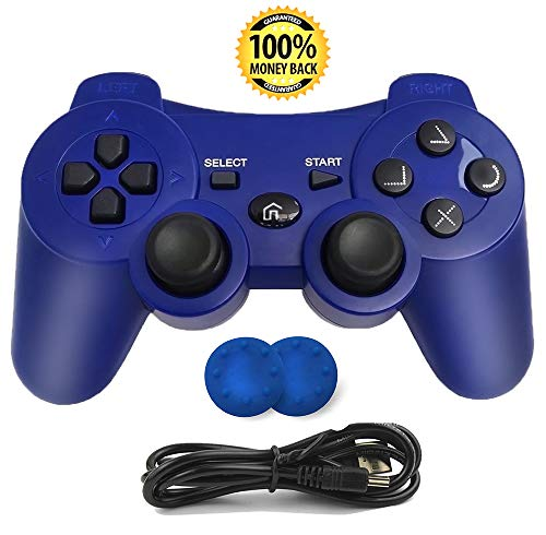 CFORWARD PS3 Controller, Wireless Bluetooth Gamepad Double Vibration Six-Axis Remote Joystick for Playstation 3 with Charging Cord (Blu)