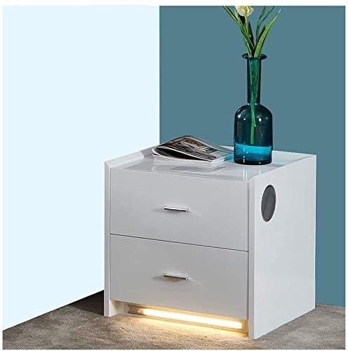 HLJ Weiß Nachttisch Holz Multifunktionstisch, mit USB-Schnittstelle, Bluetooth Audio, Wireless Charging, Einführungs-Lichter