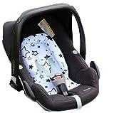 Sweet Baby ** SOFTY DESIGN ** Reductor para silla de bebé Maxi Cosi/Römer etc. / Protector de cuerpo para coche (0-6 meses) (Twinkle Stars Turkus)