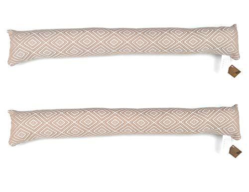 Ventilkappenkönig Zugluftstopper beige - Passgenauer 90cm Luftzugstopper - Zugstopper Tür und Fenster (Beige, 2er Sparset)