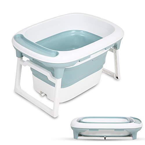 Bañera Bebe Plegable, RuiDaXiang Bañera Plegable para Niños con Cojín de Baño Suave y Taburete Antideslizante de Baño (Azul)