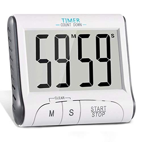 BIGMALL Digitale Küchenwecker Magnetische Kochwecker Countdown-Uhr Großes LCD-Display Lauter Alarm Mit Backing Stand Weiß (2Er Pack)