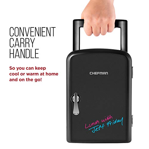 Chefman Mini Portable Eraser Board Personal Fridge, Cools & Heats 4 Liter Capacity, Chills 6 12oz cans, 100% Freon-Free & Eco Friendly, Includes Plugs for Home Outlet & 12V Car Charger, Black