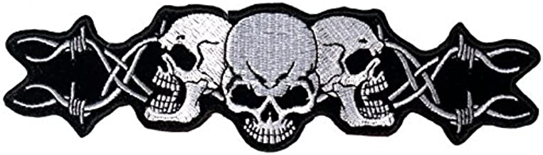 Hot Leathers, BARBED WIRE SKULL TRIO - Iron-On / Saw-On Rayon PATCH - 5