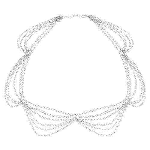 Kopf Kette Legierung Stirnbänder Quaste Kopfschmuck für Frauen Dekoration (Silber)