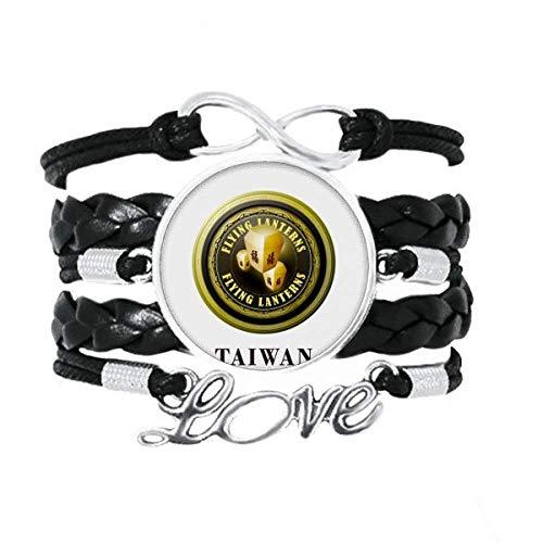 DIYthinker Logo Taiwan farolillos voladores Pulsera de Amor Adorno de Cuero Torcido Hilo de muñeca