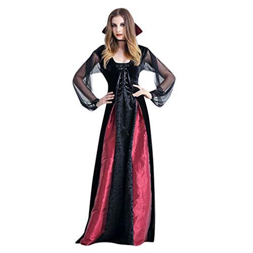 Kleid Damen Vampir Königin Kostüm Halloween Vampirin Hexe Zombie Braut Cosplay Piebo Frauen Stehkragen Sexy Tüll Lange Ärmel Dress Erwachsene Kleider Weihnachten Karneval Party Rollenspiel Kostüm