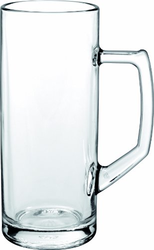 Borgonovo 12002320 Reno Bierseidel, Bierkrug, Bierglas, 375ml, mit Füllstrich bei 0.3l, Glas, transparent, 6 Stück