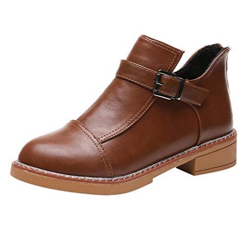 Botines cuña Tacón de Aguja para Mujer Otoño Invierno 2018 Moda PAOLIAN Botas clásicas de Cuero Botines Militares Plataforma Casual Zapatos Señora Calzado Piel Tacón Altas Dama Talla Grande