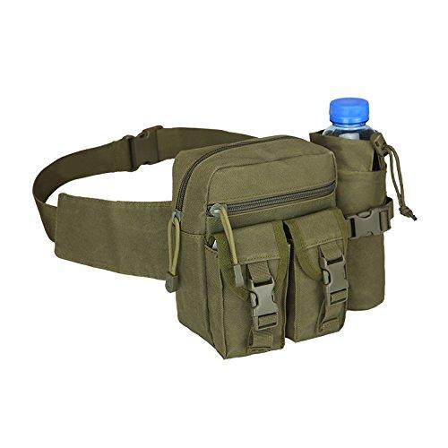 Mcdobexy Unisex Wander Hüfttasche mit Flaschenhalter(Army Green)