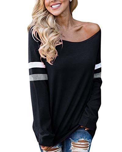 YOINS Pulli Damen Langarmshirt Sweatshirt mit Streifen Rundhals Ausschnitt Oversize Hemd, Aktualisierung-schwarz, Gr.- M/ 40-42