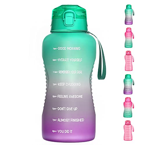Luckea Large Half Gallon/ 64OZ Motivational Water Bottle with Straw, Leakproof Tritan BPA Free Fitness Sports Water Jug with Time Marker, Ensure You Drink Enough Water Daily