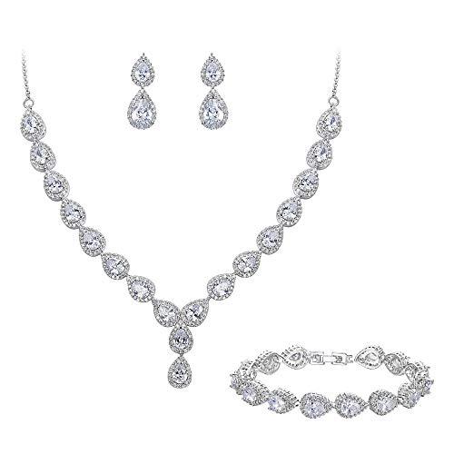 Clearine Damen Hochzeit Braut Tropfen CZ Unendlichekeit Figur 8 Y-Halskette Tennis Armband Dangle Ohrringe Set Klar Silber-Ton