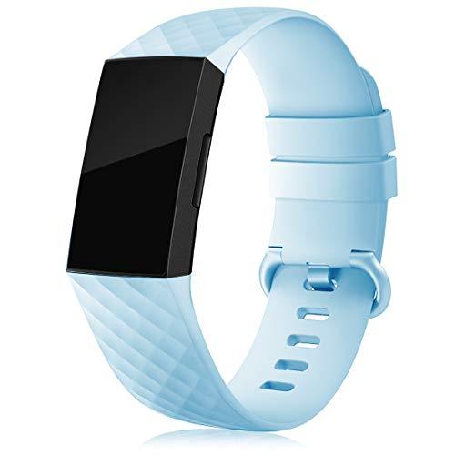 RIOROO Cinturino Compatibile per Fitbit Charge 3 Cinturino/Charge 4 Cinturino/SE, Sportivi Cinturini Silicone per Donna Uomo Regolabile Braccialetto Sostitutivo, Azzurro, S