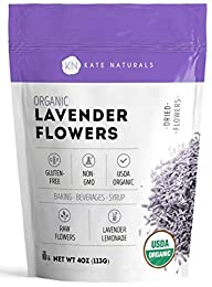 USDA CERTIFIED ORGANIC LAVENDER FLOWERS - Kate Naturals' Organic Lavender Flowers are certified by USDA and is guaranteed to be authentic, pure, and natural. 100% Guaranteed Authentic or FULL REFUND. REFRESHING AND DELICIOUS IN TEA & LEMONADE - Laven...