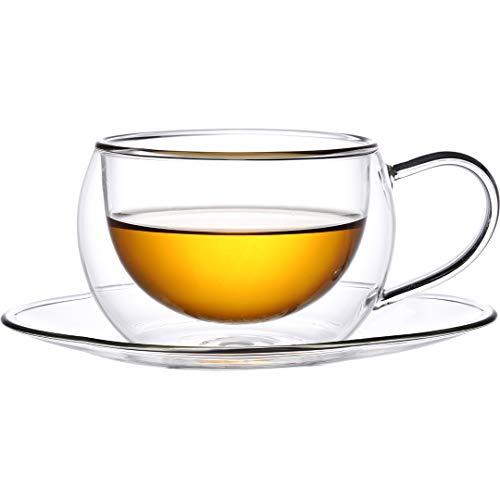 2X Thermogläser 270 ml mit Henkel und Untertasse doppelwandige Gläser mit Schwebeeffekt geeignet für Tee Kaffee Cappuccino Tassen Latte Macchiato Glas Gläser Set