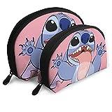 Bolsas de cosméticos de puntada de dibujos animados bolsa portátil bolsa de embrague conjunto mujeres hombres viaje monedero con cremallera organizador 2 piezas