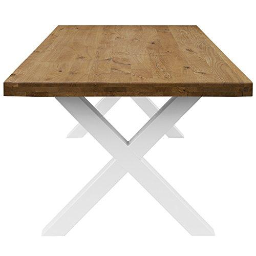 COMIFORT Mesa de Comedor - Mueble para Salon Oficina Despacho Robusto y Moderno de Roble Macizo Color Ahumado, Patas de Acero X-Forma Blancas (140x75 cm)
