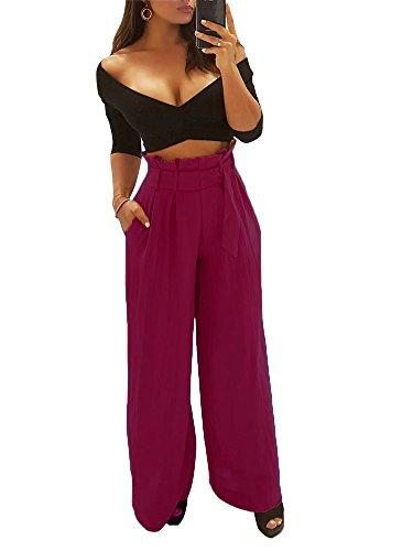 Minetom Femme Casual Taille Haute Solide Jambe Large Bas Évasé Pantalon Élégante Baggy Jupe-Culotte Palazzos Sarouels Pants avec Ceinture Rouge EU L