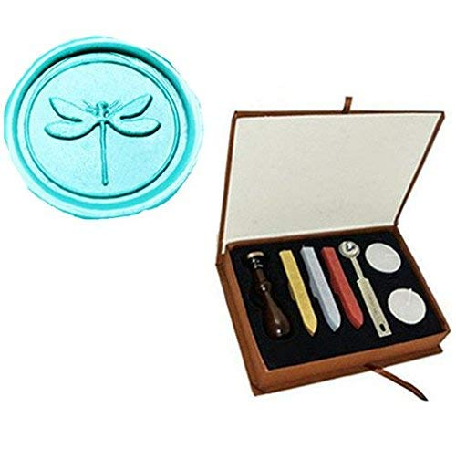 Vintage Cute Dragonfly Picture Logo Wedding Invitation Wax Seal Sealing Stamp Sticks Spoon Gift Box Set Kit