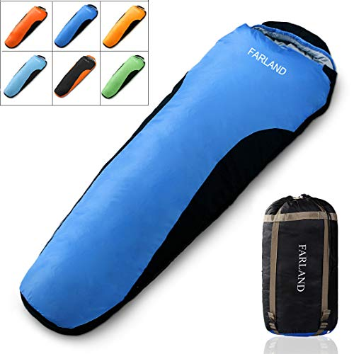 FARLAND adult Sleeping Bag lightweight Portable Waterproof Mummy envelope Bag Perfect for 0 degree Traveling, Camping, Hiking,Outdoor Activities (Dark Blue & Black / Right Zip, Mummy)