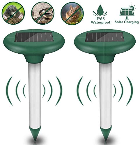 Molbory 2 Stück Solar Maulwurfabwehr, Ultrasonic LED Maulwurfschreck, Wühlmausvertreiber, Wühlmausschreck, Mole Repellent, Maulwurfbekämpfung mit IP56 Wasserdicht für Den Garten