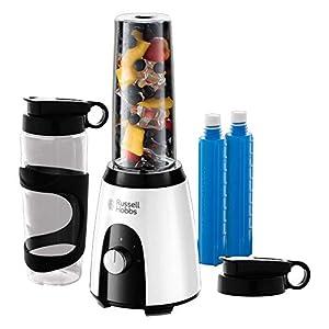 Russell Hobbs Horizon Mix & Go Boost – Batidora de Vaso Individual (400 W, Sin BPA, Blanco y Negro, 2 Vasos de 600 ml, 2 Tubos Refrigeradores) – ref. 25161-56
