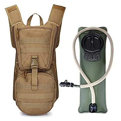 G4Free Tactical Hydration Backpacks Water Packs with 3L BPA Free Bladder Kids Adults for Hiking, Cycling, Running, Skiing, Walking and Climbing(Tan)