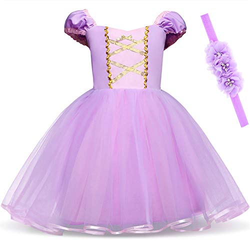Princess Rapunzel Dress for Baby Girls Birthday Party Dress Up with Headband 4T 5T(120CM,Rapunzel)