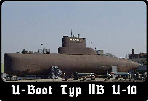 Metalen bord 20x30cm gewelfd U-Boot U10 type IIB Duitsland marine decoratie geschenk bord