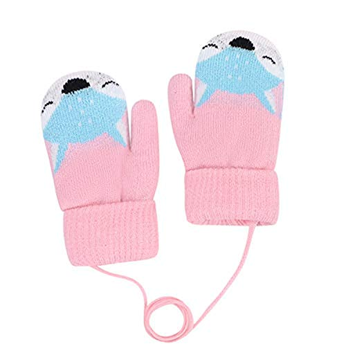 Fausthandschuhe Kinder Kinderhandschuhe Cartoon Fuchs Strickhandschuhe Baby Fäustlinge Handschuhe Mädchen Jungen Plüschfutter Wollhandschuhe Winter Dick Winterhandschuhe Warm Handwärmer für Outdoor